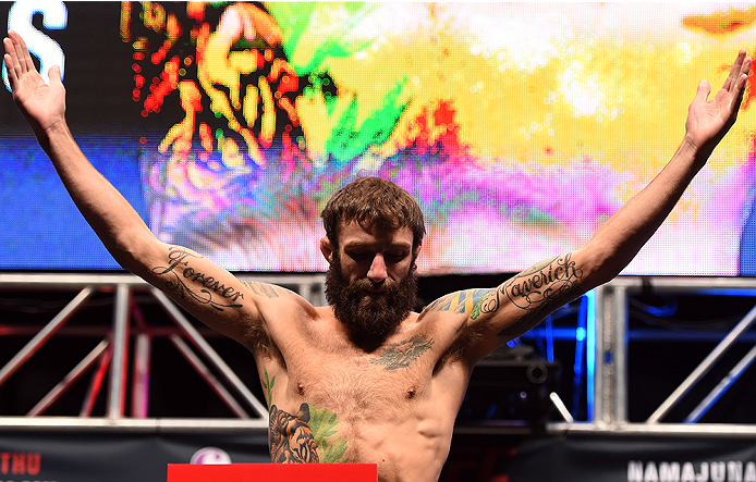 LAS VEGAS, NV - DECEMBER 09:  Michael Chiesa weighs in during the UFC Fight Night weigh-in inside MGM Grand Garden Arena on December 9, 2015 in Las Vegas, Nevada.  (Photo by Josh Hedges/Zuffa LLC/Zuffa LLC via Getty Images)