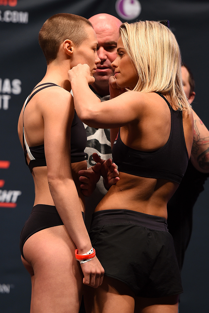 LAS VEGAS, NV - DECEMBER 09:  (L-R) Opponents Rose Namajunas and Paige VanZant face off during the UFC Fight Night weigh-in inside MGM Grand Garden Arena on December 9, 2015 in Las Vegas, Nevada.  (Photo by Josh Hedges/Zuffa LLC/Zuffa LLC via Getty Images
