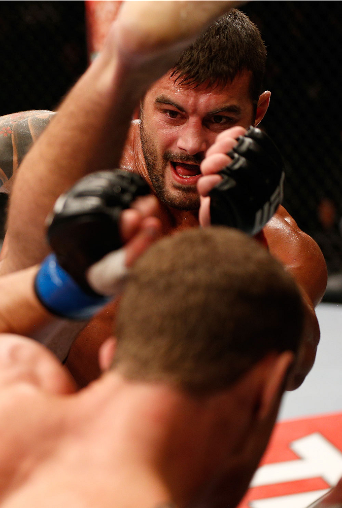 SAO PAULO, BRAZIL - MAY 31: Ricardo Abreu kicks Wagner Silva in their middleweight fight during the UFC Fight Night event at the Ginasio do Ibirapuera on May 31, 2014 in Sao Paulo, Brazil. (Photo by Josh Hedges/Zuffa LLC/Zuffa LLC via Getty Images)