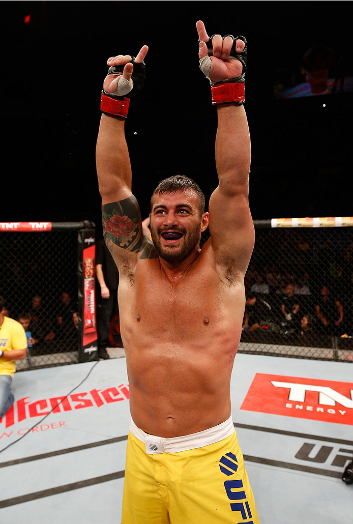SAO PAULO, BRAZIL - MAY 31: Ricardo Abreu reacts after his victory over Wagner Silva in their middleweight fight during the UFC Fight Night event at the Ginasio do Ibirapuera on May 31, 2014 in Sao Paulo, Brazil. (Photo by Josh Hedges/Zuffa LLC/Zuffa LLC