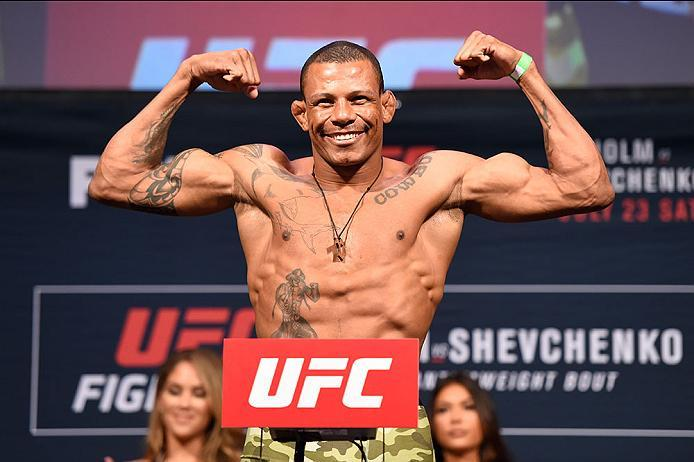CHICAGO, IL - JULY 22:   Alex Oliveira of Brazil poses on the scale during the UFC weigh-in at the United Center on July 22, 2016 in Chicago, Illinois. (Photo by Josh Hedges/Zuffa LLC/Zuffa LLC via Getty Images)