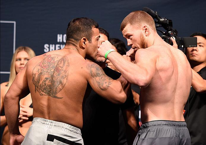 CHICAGO, IL - JULY 22:   (L-R) Opponents Michel Prazeres of Brazil and J.C. Cottrell face off during the UFC weigh-in at the United Center on July 22, 2016 in Chicago, Illinois. (Photo by Josh Hedges/Zuffa LLC/Zuffa LLC via Getty Images)