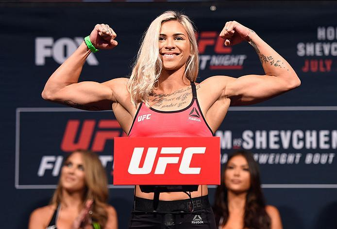CHICAGO, IL - JULY 22:   Kailin Curran poses on the scale during the UFC weigh-in at the United Center on July 22, 2016 in Chicago, Illinois. (Photo by Josh Hedges/Zuffa LLC/Zuffa LLC via Getty Images)