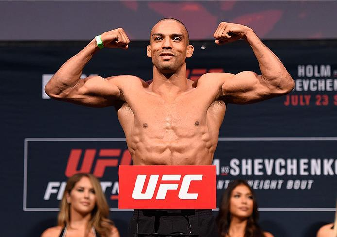 CHICAGO, IL - JULY 22:   Edson Barboza of Brazil poses on the scale during the UFC weigh-in at the United Center on July 22, 2016 in Chicago, Illinois. (Photo by Josh Hedges/Zuffa LLC/Zuffa LLC via Getty Images)
