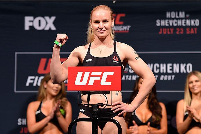 CHICAGO, IL - JULY 22:   Valentina Shevchenko of Kyrgyzstan poses on the scale during the UFC weigh-in at the United Center on July 22, 2016 in Chicago, Illinois. (Photo by Josh Hedges/Zuffa LLC/Zuffa LLC via Getty Images)