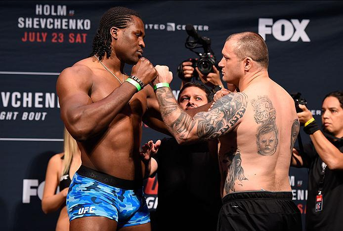 CHICAGO, IL - JULY 22:   (L-R) Opponents Francis Ngannou of Cameroon and Bojan Mihajlovic of Serbia face off during the UFC weigh-in at the United Center on July 22, 2016 in Chicago, Illinois. (Photo by Josh Hedges/Zuffa LLC/Zuffa LLC via Getty Images)