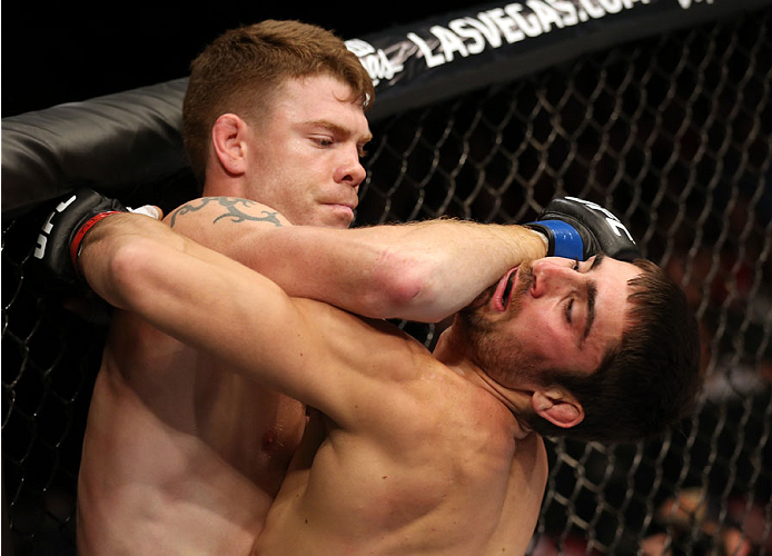 HALIFAX, NS - OCTOBER 4:  (L-R) Paul Felder lands an elbow to the chin of Jason Saggo of Canada in their lightweight bout at the Scotiabank Centre on October 4, 2014 in Halifax, Nova Scotia, Canada. (Photo by Nick Laham/Zuffa LLC/Zuffa LLC via Getty Image