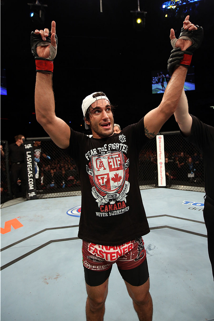 HALIFAX, NS - OCTOBER 4:  Elias Theodorou of Canada celebrates after defeating Bruno Santos of Brazil in their middleweight bout at the Scotiabank Centre on October 4, 2014 in Halifax, Nova Scotia, Canada. (Photo by Nick Laham/Zuffa LLC/Zuffa LLC via Gett