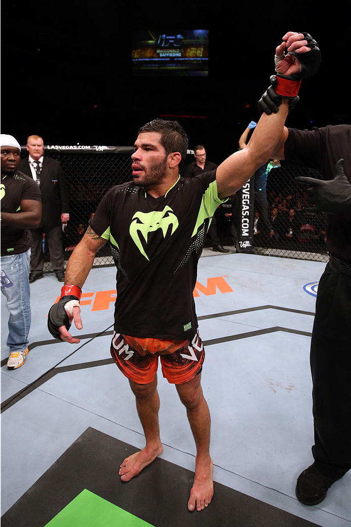 HALIFAX, NS - OCTOBER 4:  Raphael Assuncao of Brazil celebrates after defeating Bryan Caraway in their bantamweight bout at the Scotiabank Centre on October 4, 2014 in Halifax, Nova Scotia, Canada. (Photo by Nick Laham/Zuffa LLC/Zuffa LLC via Getty Images