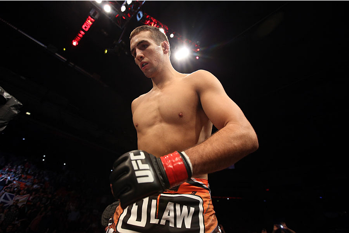 HALIFAX, NS - OCTOBER 4:  Rory MacDonald of Canada enters the Octagon before facing Tarec Saffiedine of Belgium in their welterweight bout at the Scotiabank Centre on October 4, 2014 in Halifax, Nova Scotia, Canada. (Photo by Nick Laham/Zuffa LLC/Zuffa LL