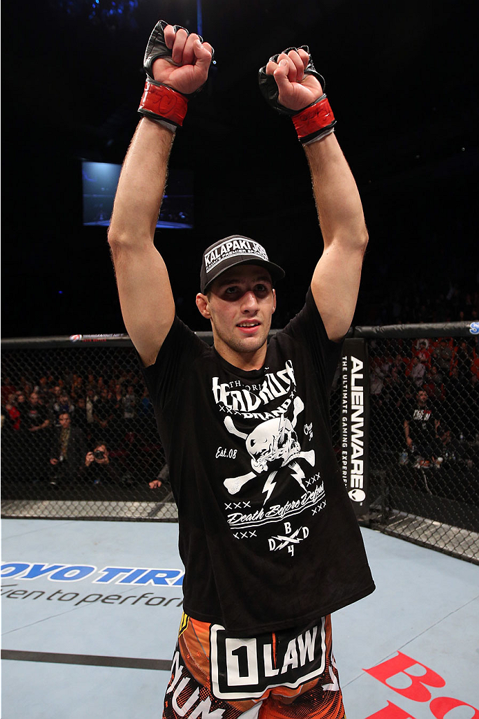 HALIFAX, NS - OCTOBER 4:  Rory MacDonald of Canada celebrates after defeating Tarec Saffiedine of Belgium in their welterweight bout at the Scotiabank Centre on October 4, 2014 in Halifax, Nova Scotia, Canada. (Photo by Nick Laham/Zuffa LLC/Zuffa LLC via