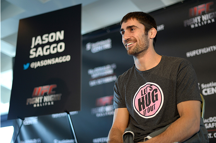 HALIFAX, NS - OCTOBER 2:  Jason Saggo of Canada speaks to the media during the UFC Fight Night Ultimate Media Day on October 2, 2014 in Halifax, Nova Scotia, Canada. (Photo by Jeff Bottari/Zuffa LLC/Zuffa LLC via Getty Images)