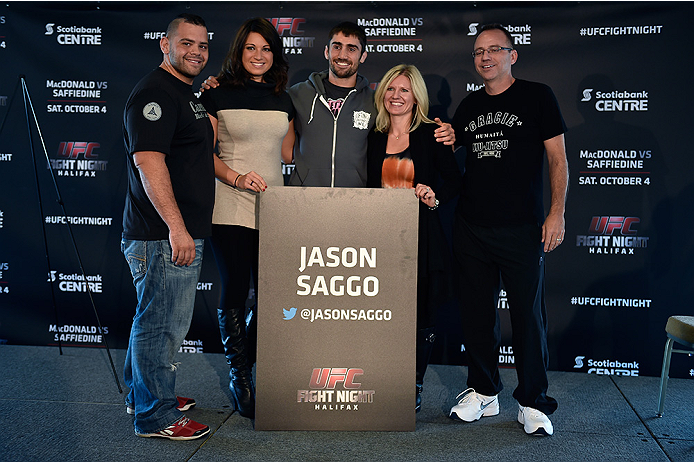 HALIFAX, NS - OCTOBER 2:  Jason Saggo (C) of Canada poses with his family during the UFC Fight Night Ultimate Media Day on October 2, 2014 in Halifax, Nova Scotia, Canada. (Photo by Jeff Bottari/Zuffa LLC/Zuffa LLC via Getty Images)