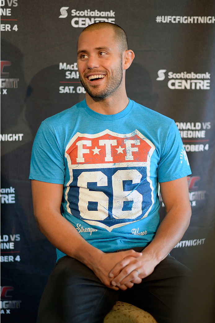 HALIFAX, NS - OCTOBER 2:  Chad Laprise of Canada speaks to the media during the UFC Fight Night Ultimate Media Day on October 2, 2014 in Halifax, Nova Scotia, Canada. (Photo by Jeff Bottari/Zuffa LLC/Zuffa LLC via Getty Images)
