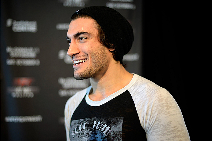 HALIFAX, NS - OCTOBER 2:  Elias Theodorou of Canada speaks to the media during the UFC Fight Night Ultimate Media Day on October 2, 2014 in Halifax, Nova Scotia, Canada. (Photo by Jeff Bottari/Zuffa LLC/Zuffa LLC via Getty Images)