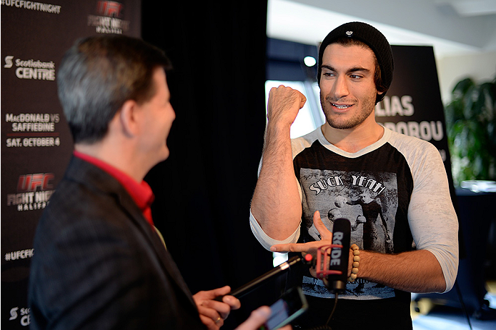 HALIFAX, NS - OCTOBER 2:  Elias Theodrou of Canada speaks to the media during the UFC Fight Night Ultimate Media Day on October 2, 2014 in Halifax, Nova Scotia, Canada. (Photo by Jeff Bottari/Zuffa LLC/Zuffa LLC via Getty Images)