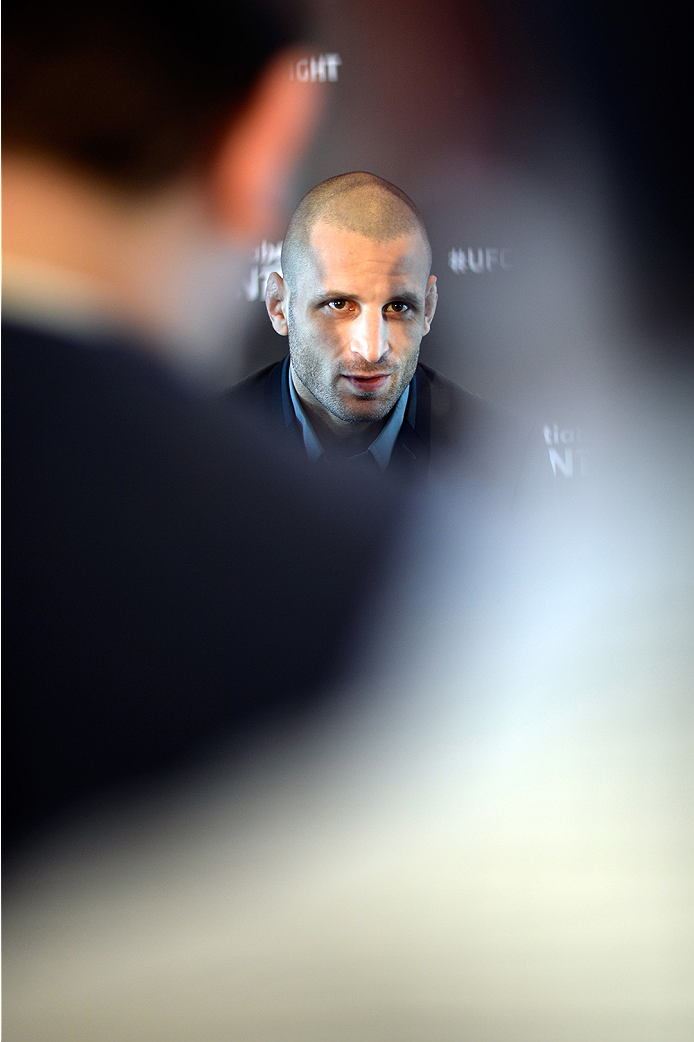 HALIFAX, NS - OCTOBER 2:  Tarec Saffiedine of Belgium speaks to the media during the UFC Fight Night Ultimate Media Day on October 2, 2014 in Halifax, Nova Scotia, Canada. (Photo by Jeff Bottari/Zuffa LLC/Zuffa LLC via Getty Images)