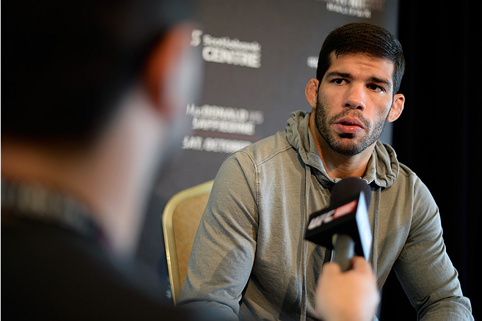 HALIFAX, NS - OCTOBER 2:  Raphael Assuncao of Brazil speaks to the media during the UFC Fight Night Ultimate Media Day on October 2, 2014 in Halifax, Nova Scotia, Canada. (Photo by Jeff Bottari/Zuffa LLC/Zuffa LLC via Getty Images)