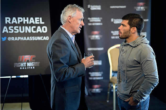 HALIFAX, NS - OCTOBER 2:  (L-R) UFC Managing Director of Canada Tom Wright speaks with Raphael Assuncao of Brazil during the UFC Fight Night Ultimate Media Day on October 2, 2014 in Halifax, Nova Scotia, Canada. (Photo by Jeff Bottari/Zuffa LLC/Zuffa LLC