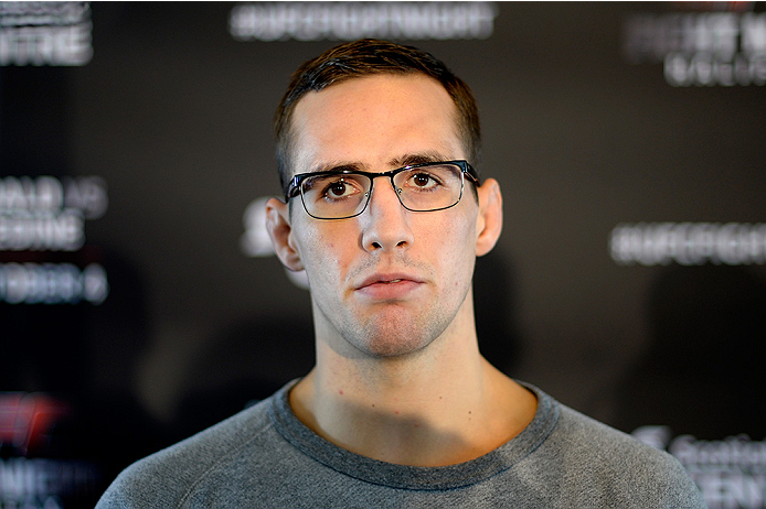 HALIFAX, NS - OCTOBER 2:  Rory MacDonald of Canada speaks to the media during the UFC Fight Night Ultimate Media Day on October 2, 2014 in Halifax, Nova Scotia, Canada. (Photo by Jeff Bottari/Zuffa LLC/Zuffa LLC via Getty Images)