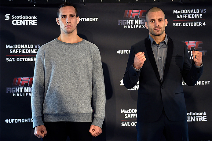 HALIFAX, NS - OCTOBER 2:  (L-R) Rory MacDonald and Tarec Saffiedine pose for the media during the UFC Fight Night Ultimate Media Day on October 2, 2014 in Halifax, Nova Scotia, Canada. (Photo by Jeff Bottari/Zuffa LLC/Zuffa LLC via Getty Images)