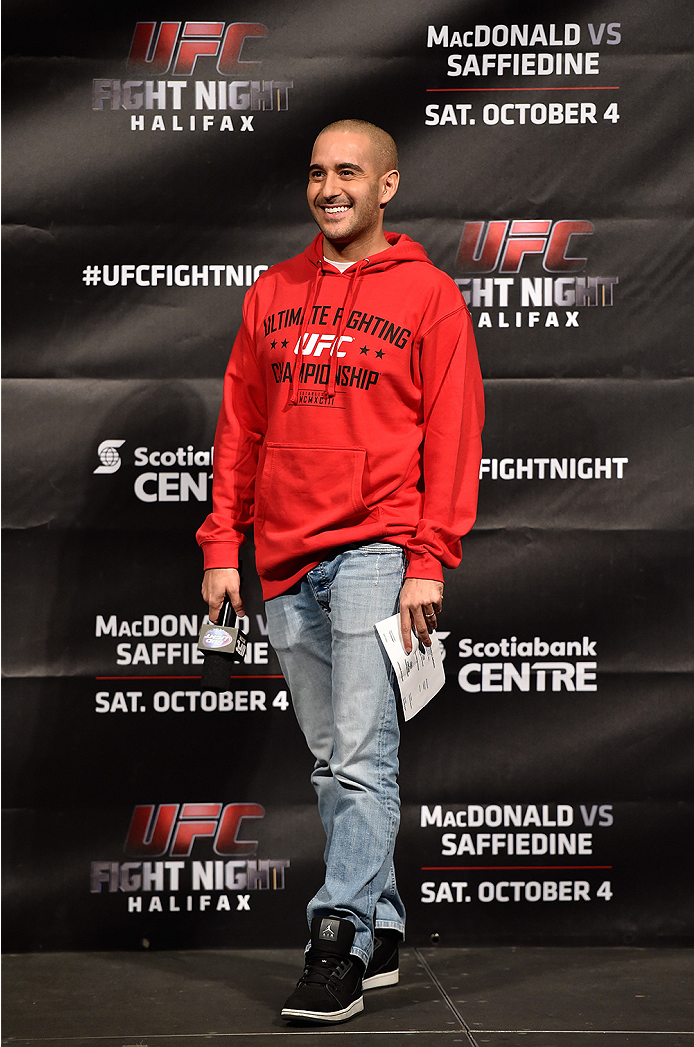 HALIFAX, NS - OCTOBER 3:  UFC announcer Jon Anik interacts with fans during a Q&A session before the UFC Fight Night weigh-in at the Scotiabank Centre on October 3, 2014 in Halifax, Nova Scotia, Canada. (Photo by Jeff Bottari/Zuffa LLC/Zuffa LLC via Getty