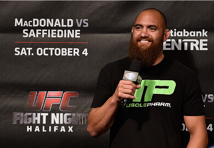 HALIFAX, NS - OCTOBER 3:  Travis Browne interacts with fans during a Q&A session before the UFC Fight Night weigh-in at the Scotiabank Centre on October 3, 2014 in Halifax, Nova Scotia, Canada. (Photo by Jeff Bottari/Zuffa LLC/Zuffa LLC via Getty Images)