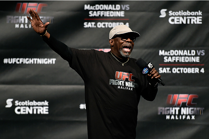 HALIFAX, NS - OCTOBER 3:  UFC event coordinator Burt Watson interacts with the crowd during the UFC Fight Night weigh-in at the Scotiabank Centre on October 3, 2014 in Halifax, Nova Scotia, Canada. (Photo by Jeff Bottari/Zuffa LLC/Zuffa LLC via Getty Imag
