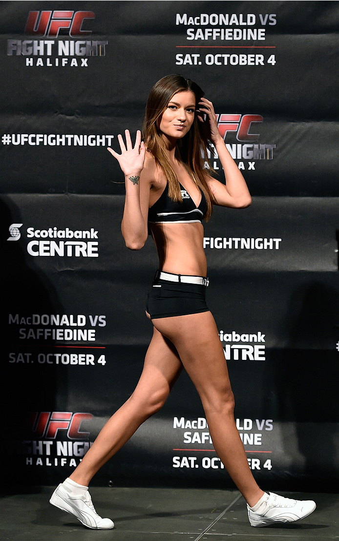 HALIFAX, NS - OCTOBER 3:  UFC Octagon Girl Vanessa Hanson walks onstage during the UFC Fight Night weigh-in at the Scotiabank Centre on October 3, 2014 in Halifax, Nova Scotia, Canada. (Photo by Jeff Bottari/Zuffa LLC/Zuffa LLC via Getty Images)