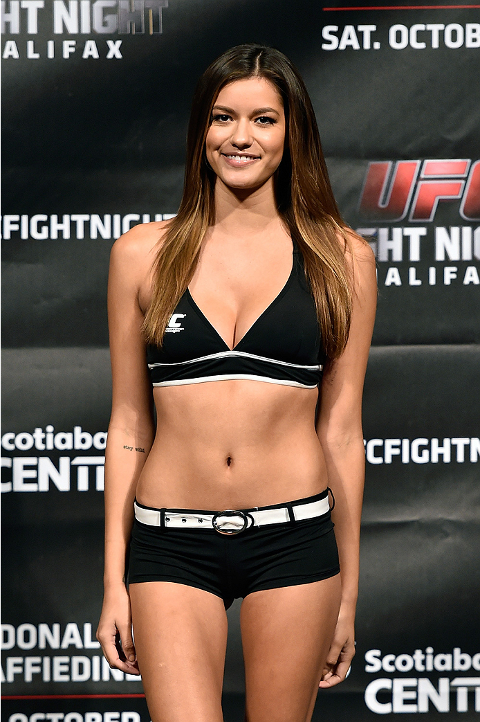 HALIFAX, NS - OCTOBER 3:  UFC Octagon Girl Vanessa Hanson stands onstage during the UFC Fight Night weigh-in at the Scotiabank Centre on October 3, 2014 in Halifax, Nova Scotia, Canada. (Photo by Jeff Bottari/Zuffa LLC/Zuffa LLC via Getty Images)