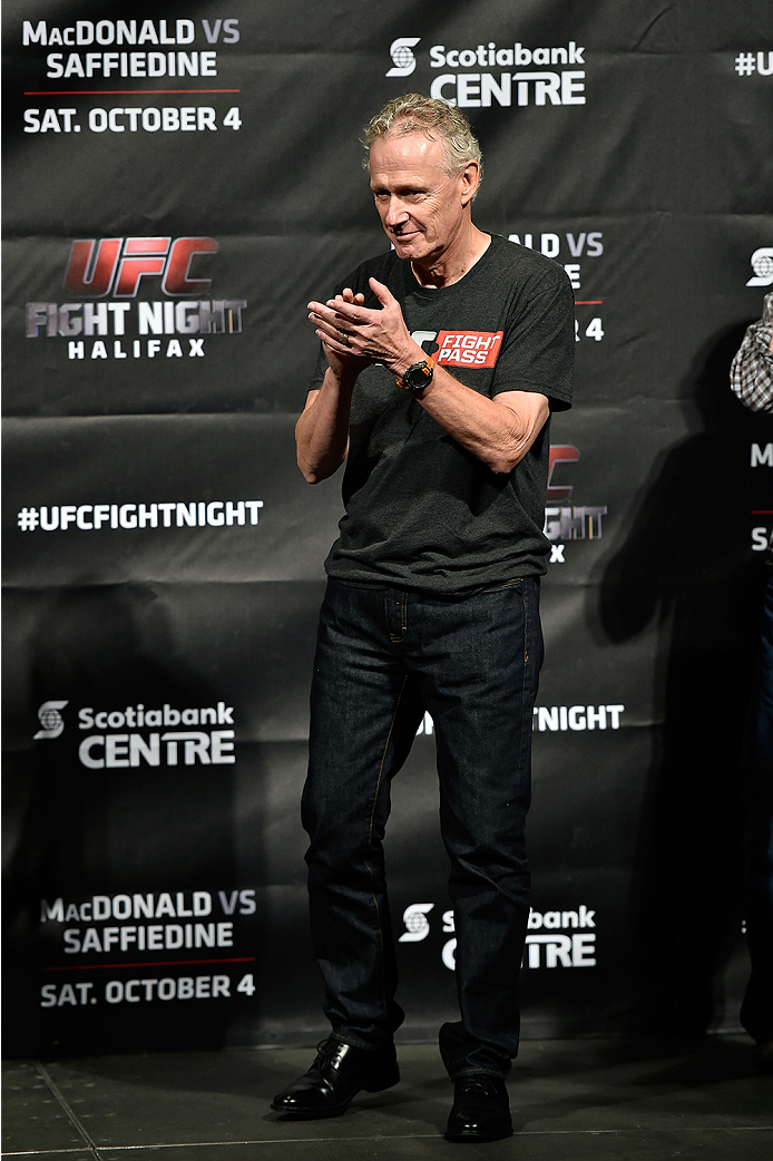 HALIFAX, NS - OCTOBER 3:  UFC Managing Director of Canada Tom Wright stands on stage during the UFC Fight Night weigh-in at the Scotiabank Centre on October 3, 2014 in Halifax, Nova Scotia, Canada. (Photo by Jeff Bottari/Zuffa LLC/Zuffa LLC via Getty Imag