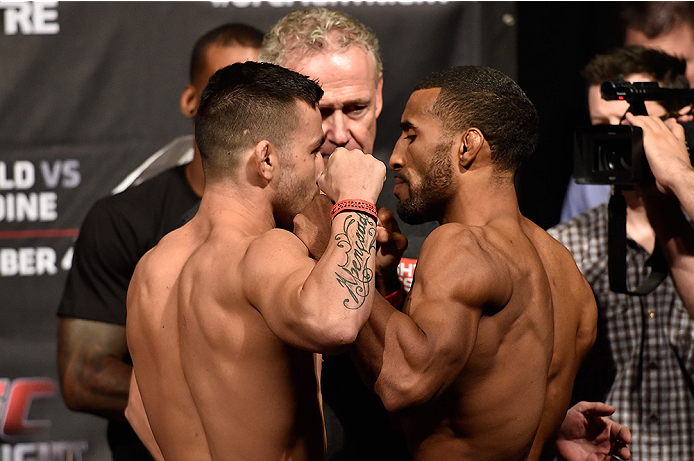 HALIFAX, NS - OCTOBER 3:  (L-R) Pedro Munhoz of Brazil and Jerrod Sanders of the United States face off during the UFC Fight Night weigh-in at the Scotiabank Centre on October 3, 2014 in Halifax, Nova Scotia, Canada. (Photo by Jeff Bottari/Zuffa LLC/Zuffa