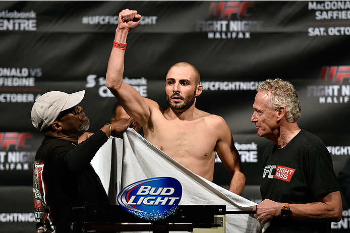 HALIFAX, NS - OCTOBER 3:  Chris Kelades of Canada steps on the scale during the UFC Fight Night weigh-in at the Scotiabank Centre on October 3, 2014 in Halifax, Nova Scotia, Canada. (Photo by Jeff Bottari/Zuffa LLC/Zuffa LLC via Getty Images)