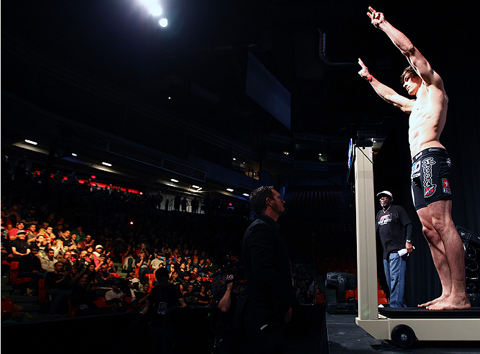 HALIFAX, NS - OCTOBER 3:  Olivier Aubin-Mercier of Canada steps on the scale during the UFC Fight Night weigh-in at the Scotiabank Centre on October 3, 2014 in Halifax, Nova Scotia, Canada. (Photo by Mike Roach/Zuffa LLC/Zuffa LLC via Getty Images)