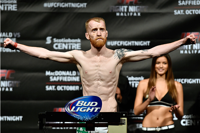HALIFAX, NS - OCTOBER 3:  Patrick Holohan of Ireland steps on the scale during the UFC Fight Night weigh-in at the Scotiabank Centre on October 3, 2014 in Halifax, Nova Scotia, Canada. (Photo by Jeff Bottari/Zuffa LLC/Zuffa LLC via Getty Images)