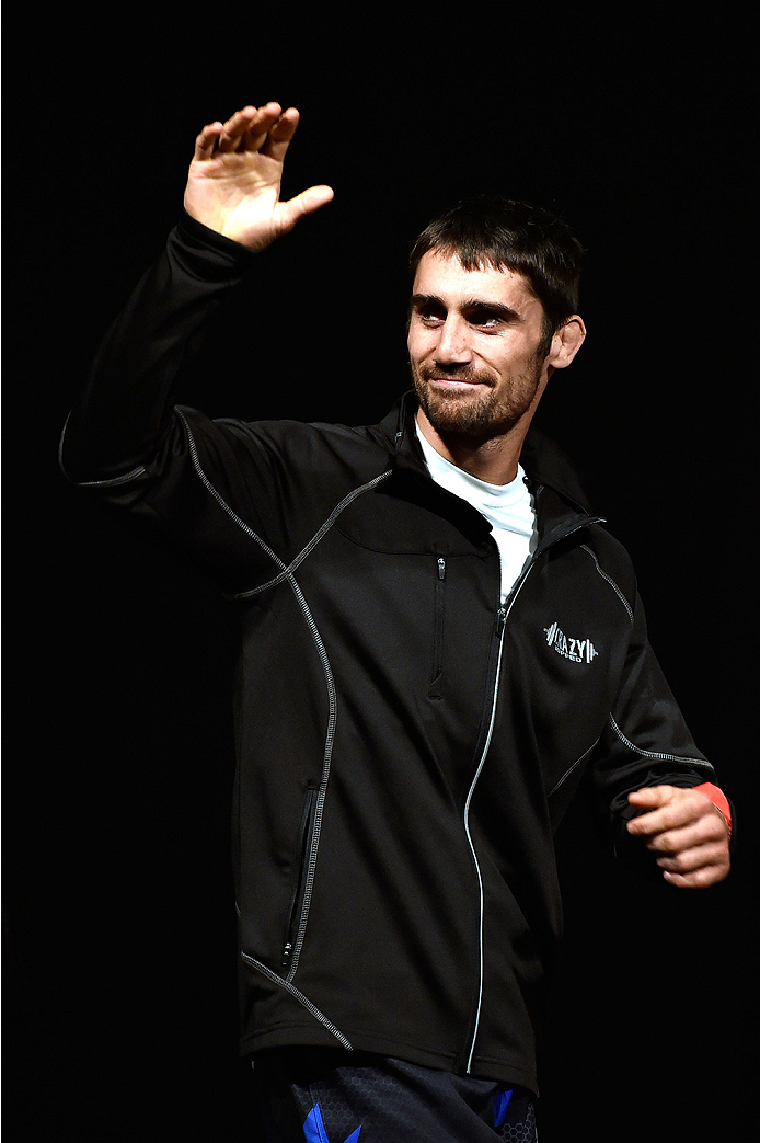 HALIFAX, NS - OCTOBER 3:  Jason Saggo of Canada walks on stage during the UFC Fight Night weigh-in at the Scotiabank Centre on October 3, 2014 in Halifax, Nova Scotia, Canada. (Photo by Jeff Bottari/Zuffa LLC/Zuffa LLC via Getty Images)