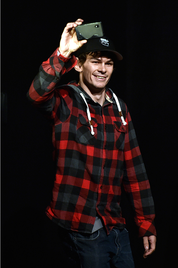 HALIFAX, NS - OCTOBER 3:  Olivier Aubin-Mercier of Canada walks onstage during the UFC Fight Night weigh-in at the Scotiabank Centre on October 3, 2014 in Halifax, Nova Scotia, Canada. (Photo by Jeff Bottari/Zuffa LLC/Zuffa LLC via Getty Images)