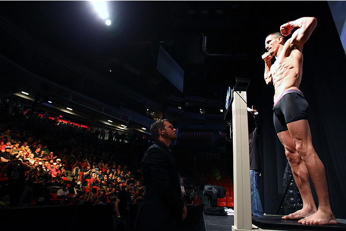 HALIFAX, NS - OCTOBER 3:  Nordine Taleb of Canada steps on the scale during the UFC Fight Night weigh-in at the Scotiabank Centre on October 3, 2014 in Halifax, Nova Scotia, Canada. (Photo by Mike Roach/Zuffa LLC/Zuffa LLC via Getty Images)