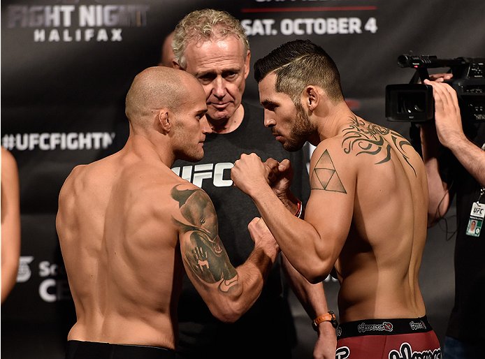 HALIFAX, NS - OCTOBER 3:  (L-R) Mitch Gagnon and Roman Salazar face off during the UFC Fight Night weigh-in at the Scotiabank Centre on October 3, 2014 in Halifax, Nova Scotia, Canada. (Photo by Jeff Bottari/Zuffa LLC/Zuffa LLC via Getty Images)