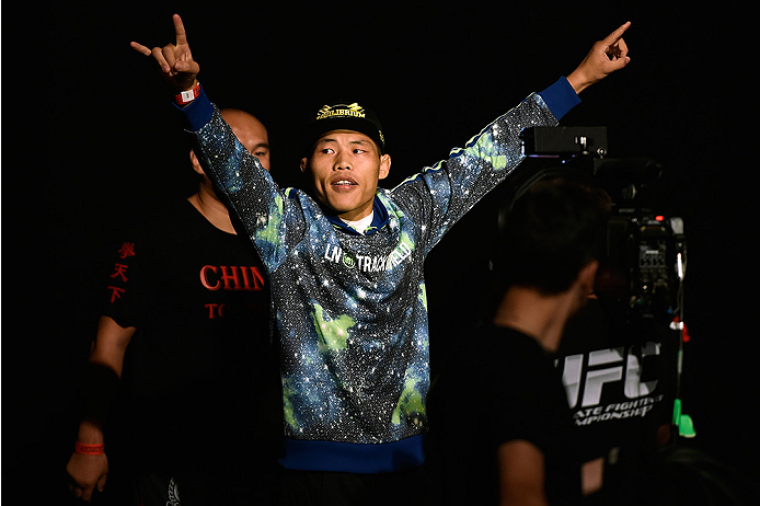HALIFAX, NS - OCTOBER 3:  Li Jingliang of China walks onstage during the UFC Fight Night weigh-in at the Scotiabank Centre on October 3, 2014 in Halifax, Nova Scotia, Canada. (Photo by Jeff Bottari/Zuffa LLC/Zuffa LLC via Getty Images)