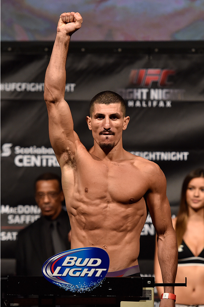 HALIFAX, NS - OCTOBER 3:  Nordine Taleb of Canada steps on the scale during the UFC Fight Night weigh-in at the Scotiabank Centre on October 3, 2014 in Halifax, Nova Scotia, Canada. (Photo by Jeff Bottari/Zuffa LLC/Zuffa LLC via Getty Images)