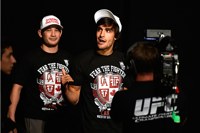 HALIFAX, NS - OCTOBER 3:  Elias Theodorou of Canada walks to the stage during the UFC Fight Night weigh-in at the Scotiabank Centre on October 3, 2014 in Halifax, Nova Scotia, Canada. (Photo by Jeff Bottari/Zuffa LLC/Zuffa LLC via Getty Images)