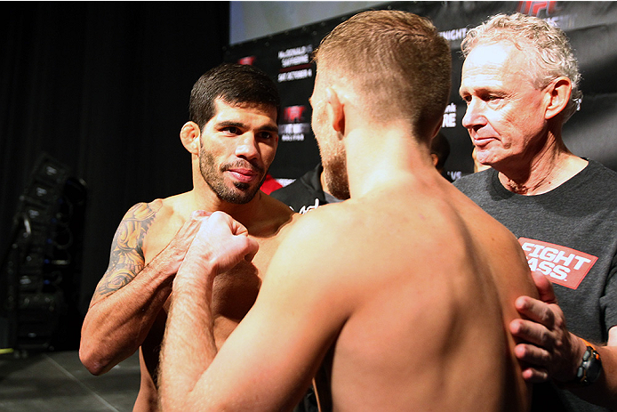 HALIFAX, NS - OCTOBER 3:  (L-R) Raphael Assuncao of Brazil and Bryan Caraway of the United States face off during the UFC Fight Night weigh-in at the Scotiabank Centre on October 3, 2014 in Halifax, Nova Scotia, Canada. (Photo by Mike Roach/Zuffa LLC/Zuff