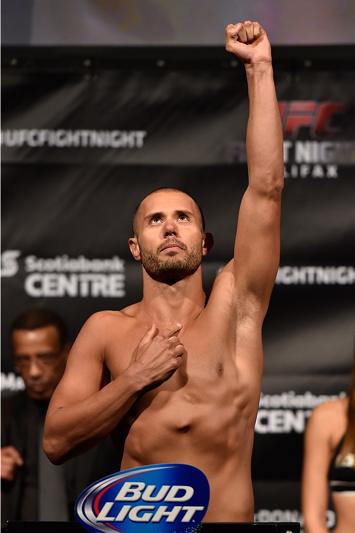 HALIFAX, NS - OCTOBER 3:  Chad Laprise of Canada steps on the scale during the UFC Fight Night weigh-in at the Scotiabank Centre on October 3, 2014 in Halifax, Nova Scotia, Canada. (Photo by Jeff Bottari/Zuffa LLC/Zuffa LLC via Getty Images)
