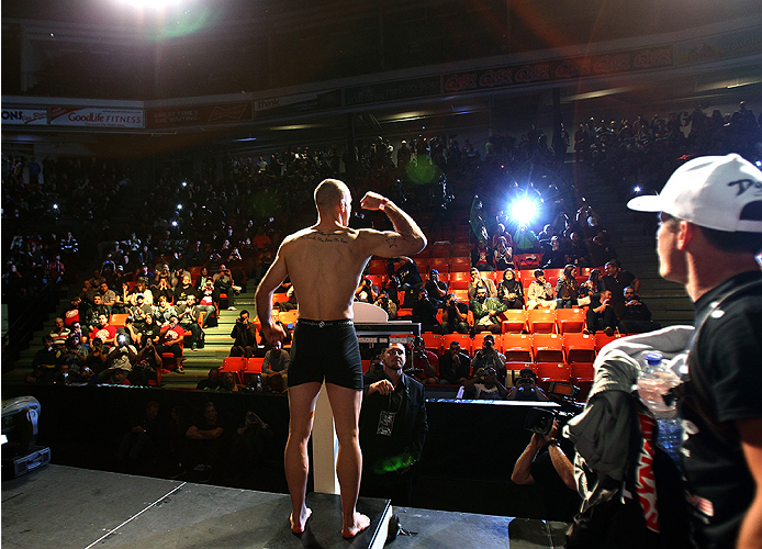 HALIFAX, NS - OCTOBER 3:  Tarec Saffiedine of Belgium steps on the scale during the UFC Fight Night weigh-in at the Scotiabank Centre on October 3, 2014 in Halifax, Nova Scotia, Canada. (Photo by Mike Roach/Zuffa LLC/Zuffa LLC via Getty Images)
