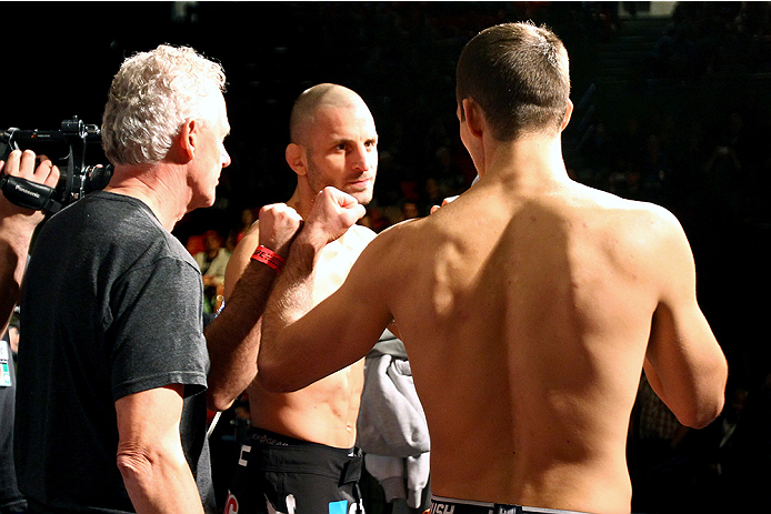 HALIFAX, NS - OCTOBER 3:  (L-R) Tarec Saffiedine of Belgium and Rory MacDonald of Canada face off during the UFC Fight Night weigh-in at the Scotiabank Centre on October 3, 2014 in Halifax, Nova Scotia, Canada. (Photo by Mike Roach/Zuffa LLC/Zuffa LLC via