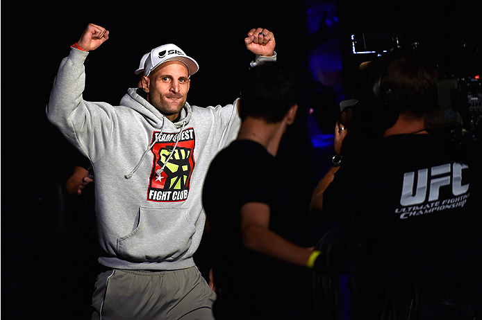 HALIFAX, NS - OCTOBER 3:  Tarec Saffiedine of Belgium walks to the stage during the UFC Fight Night weigh-in at the Scotiabank Centre on October 3, 2014 in Halifax, Nova Scotia, Canada. (Photo by Jeff Bottari/Zuffa LLC/Zuffa LLC via Getty Images)