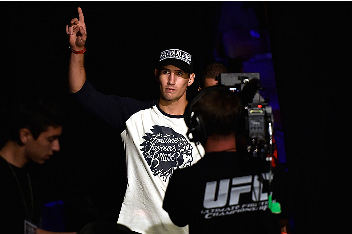 HALIFAX, NS - OCTOBER 3:  Rory MacDonald of Canada walks to the stage during the UFC Fight Night weigh-in at the Scotiabank Centre on October 3, 2014 in Halifax, Nova Scotia, Canada. (Photo by Jeff Bottari/Zuffa LLC/Zuffa LLC via Getty Images)