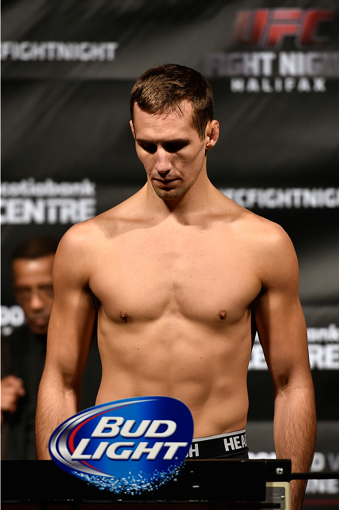 HALIFAX, NS - OCTOBER 3:  Rory MacDonald of Canada steps on the scale during the UFC Fight Night weigh-in at the Scotiabank Centre on October 3, 2014 in Halifax, Nova Scotia, Canada. (Photo by Jeff Bottari/Zuffa LLC/Zuffa LLC via Getty Images)