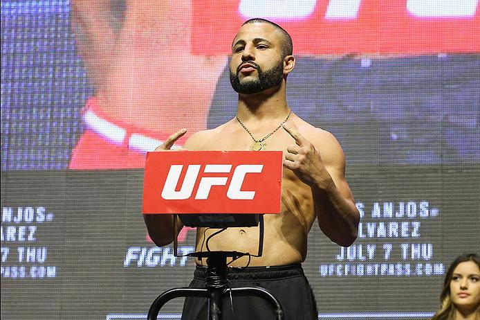LAS VEGAS, NV - JULY 06: John Makdessi steps on the scale during the UFC Fight Night Weigh-in event at the T-Mobile Arena on July 6, 2016 in Las Vegas, Nevada. (Photo by Ed Mulholland/Zuffa LLC/Zuffa LLC via Getty Images)